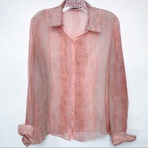TAHARI sheer silk snakeskin print blouse, Size M